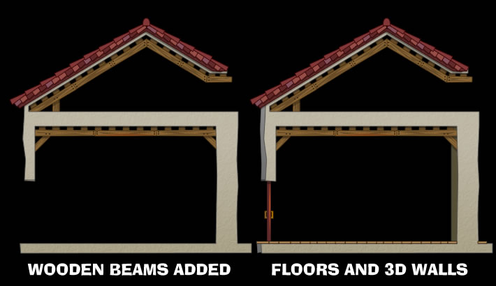 Added wooden beams and 3D interior and exterior walls